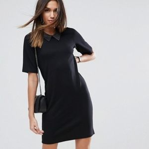 NWOT ASOS T-Shirt Dress With Faux Leather Collar